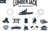 Hand drawn lumberjack textured icons set