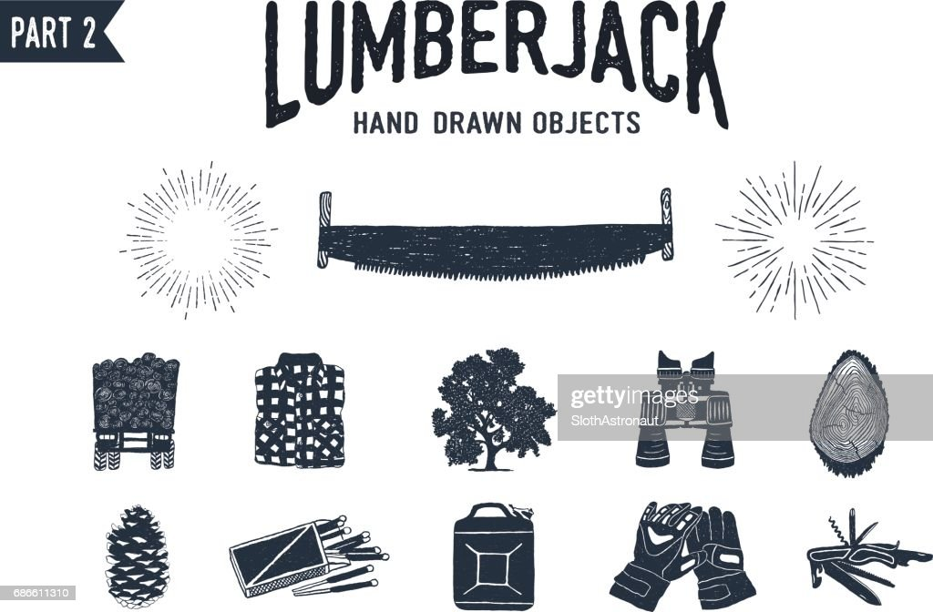 Hand drawn lumberjack textured icons set
