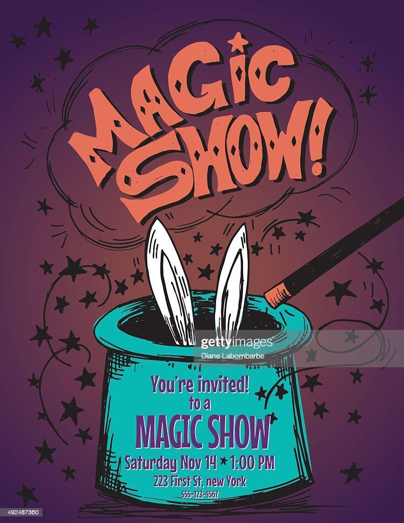 Hand Drawn Magic Show Birthday Party Invitation Template Vector Art ...
