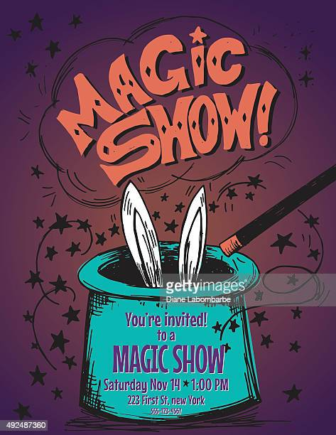 hand drawn magic show birthday party invitation template - magician stock illustrations, clip art, cartoons, & icons