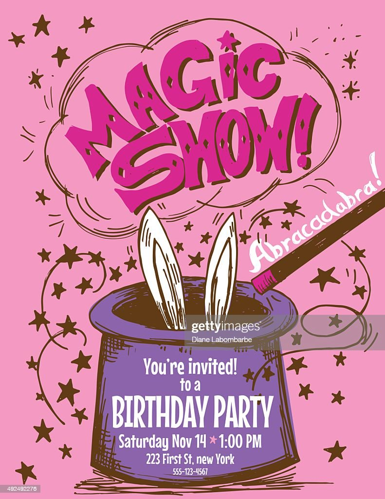 Hand Drawn Magic Show Birthday Party Invitation Template Vector ...