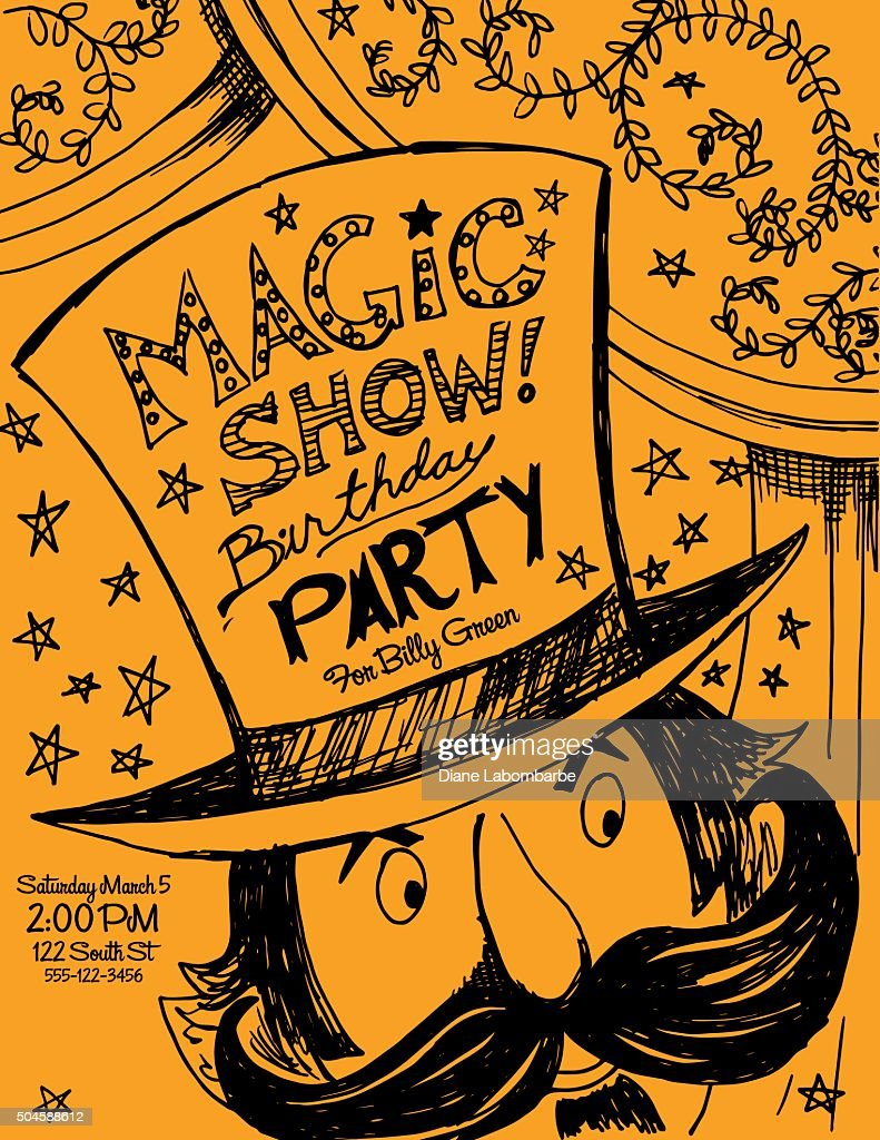 Hand Drawn Magic Show Birthday Party Invitation Template Vector Art ...