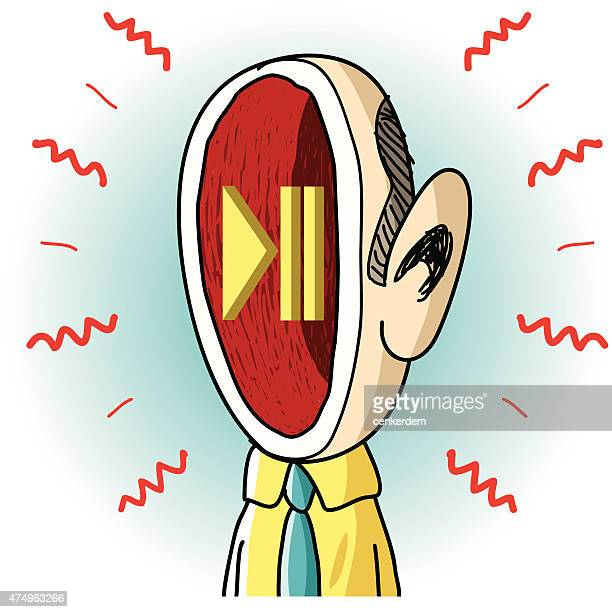 hand drawn man and play button - power outage stock illustrations, clip art, cartoons, & icons