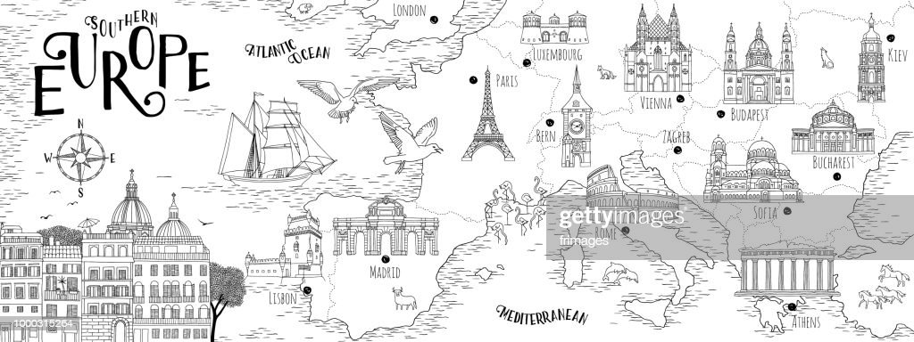 Hand drawn map of Southern Europe