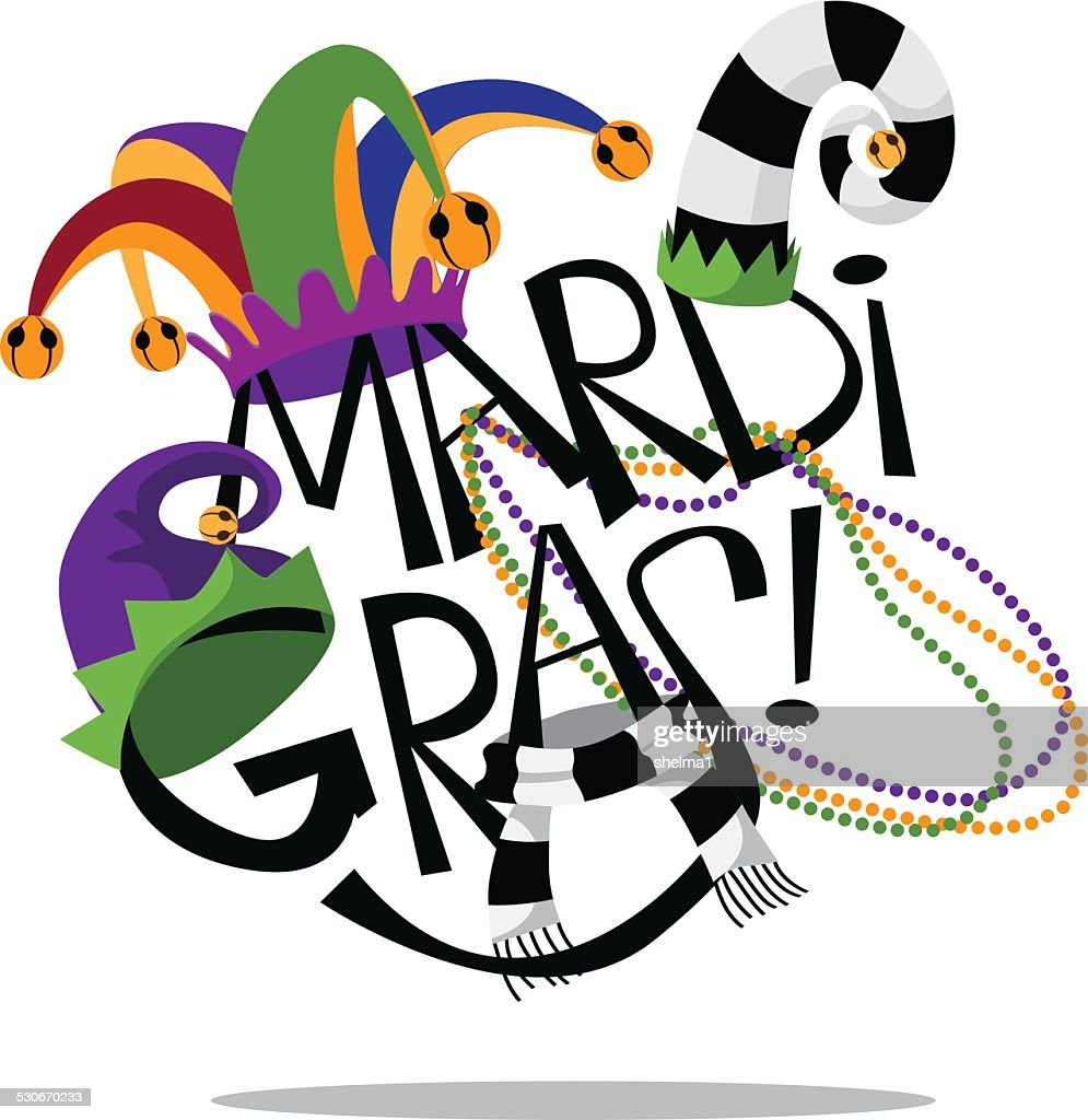 Hand drawn Mardi Gras type with hats and beads