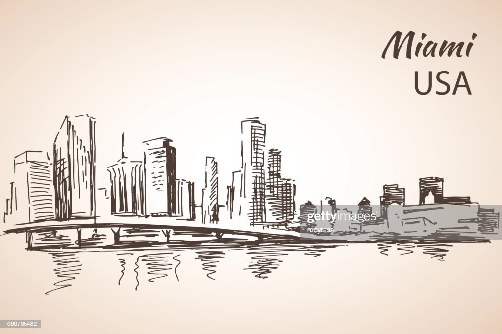 Hand drawn Miami city sketch.