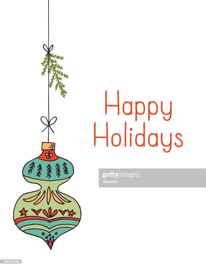 hand drawn mid century modern christmas ornaments vector art