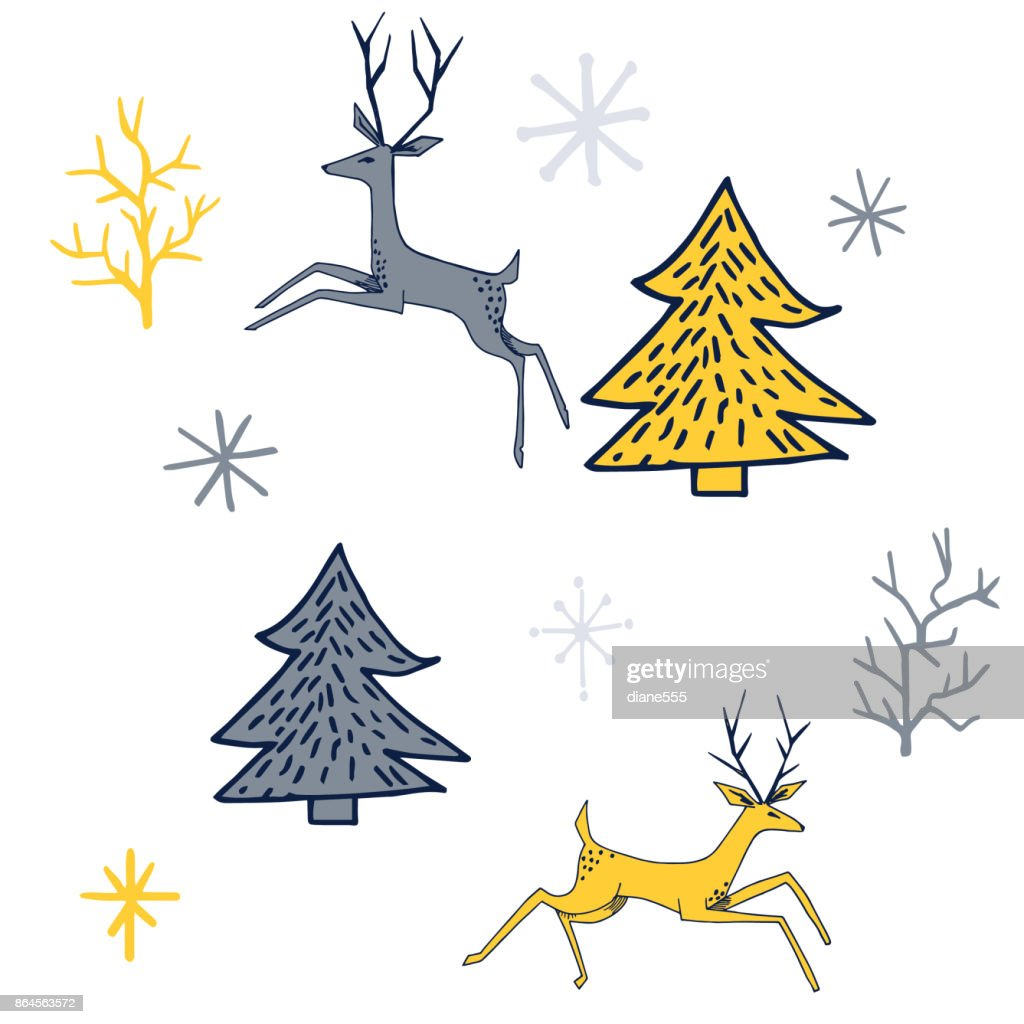 Hand Drawn Mid Century Modern Vintage Christmas Elements High Res Vector Graphic Getty Images