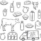 Hand drawn milk product seamless pattern