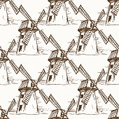 Hand drawn mill seamless pattern