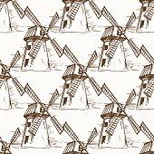 Hand drawn mill seamless pattern