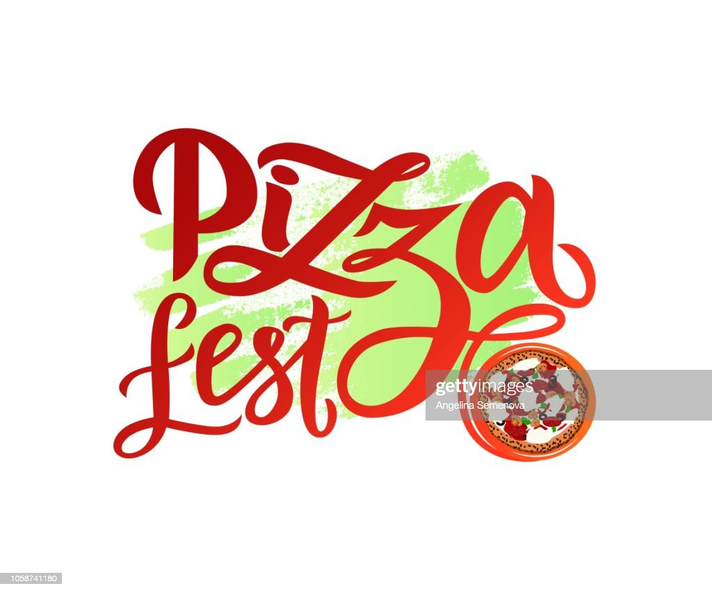 Hand drawn modern calligraphy lettering Pizza Fest with illustration of pizza on watercolor spot