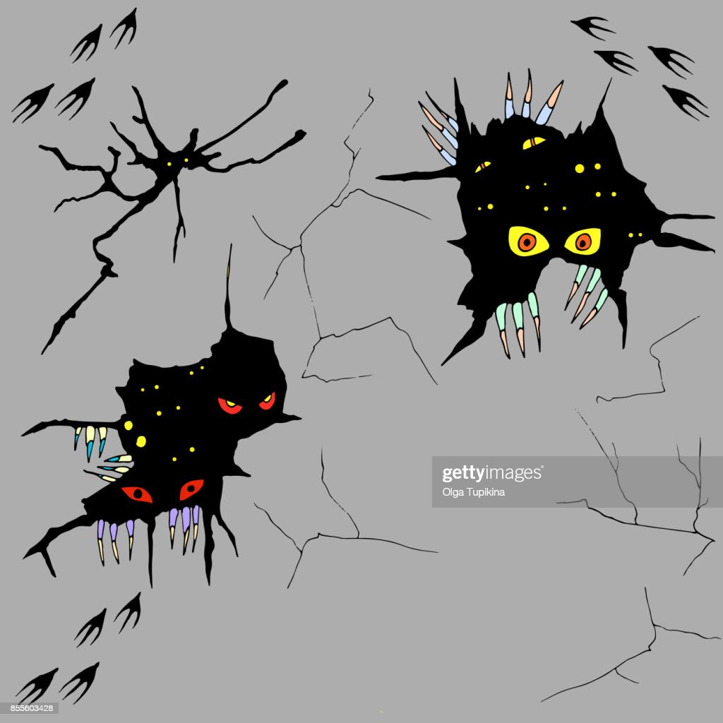 Hand drawn monsters peeping out of cracks in the wall,vector hal