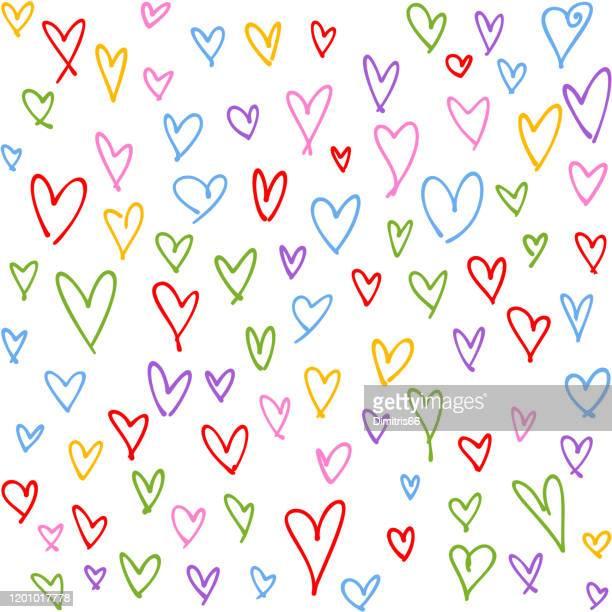手描きのマルチカラーハートシームレスなパターン。バレンタイン、母の日、誕生日カード、壁紙やギフトラップのデザイン。 - lgbtqiプライドイベント点のイラスト素材/クリップアート素材/マンガ素材/アイコン素材