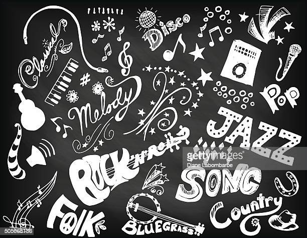 hand drawn music doodled elements and typography. - chalk rock stock illustrations
