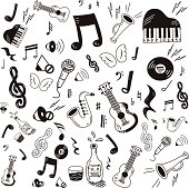 Hand drawn music icon set