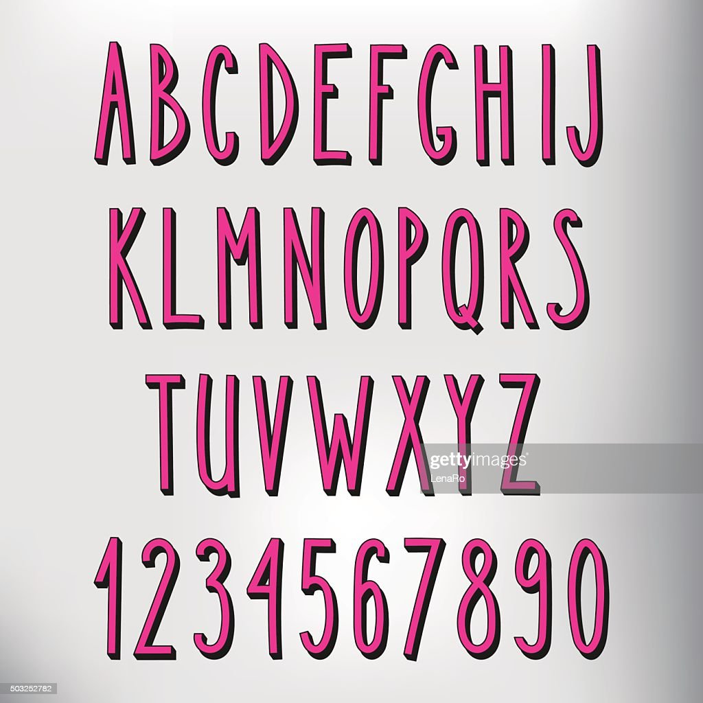 Hand drawn narrow pink alphabet