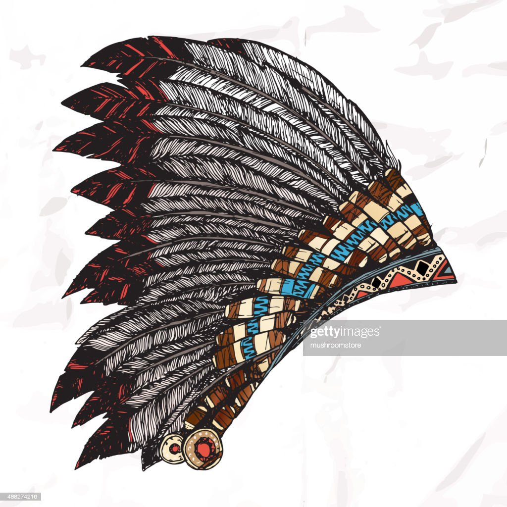 Hand Drawn Native American Indian Headdress.