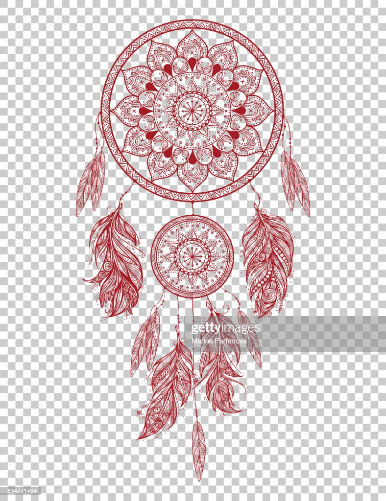 Hand drawn Native American Indian talisman dreamcatcher with feathers. Vector hipster illustration isolated.