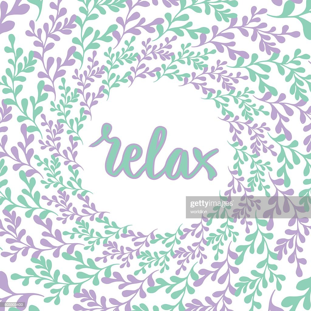 Hand drawn nature frame. Vector circle background