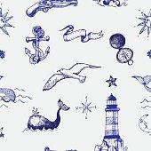 Hand drawn nautical seamless pattern