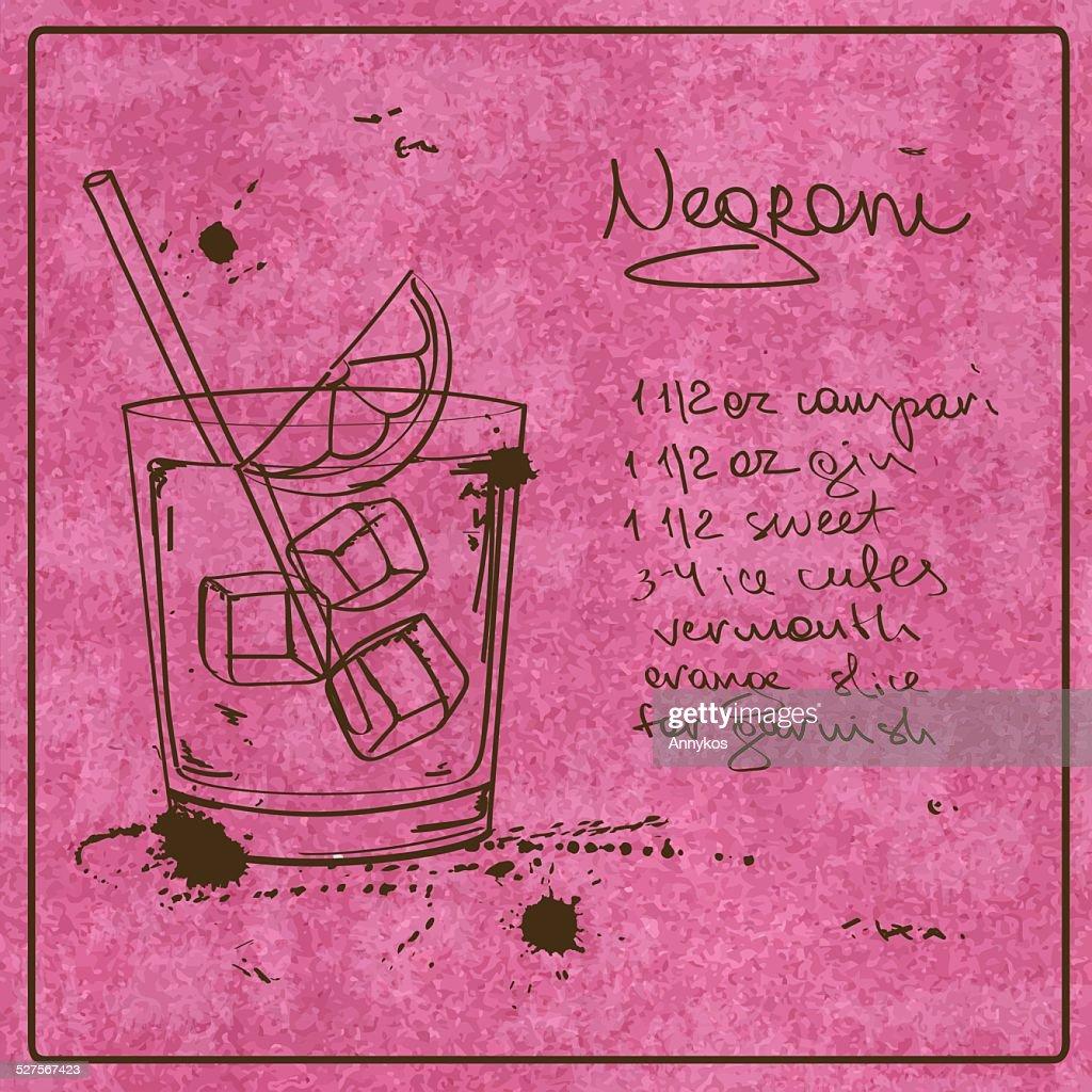 Hand drawn Negroni cocktail