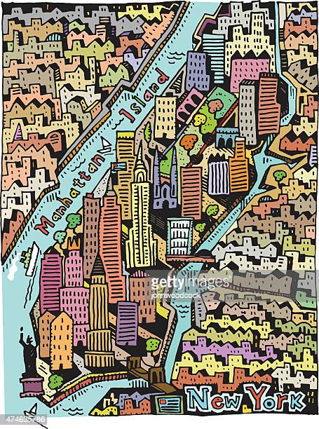 hand drawn new york map - brooklyn bridge stock illustrations, clip art, cartoons, & icons
