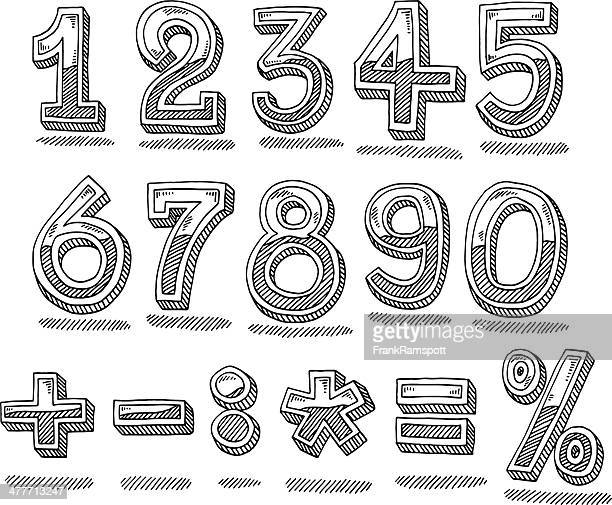 Hand Drawn Numbers Chrome Set