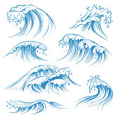 Hand drawn ocean waves. Sketch sea waves tide splash. Hand drawn surfing storm wind water doodle vintage elements