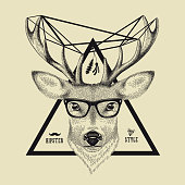 Hand drawn of a deer head in hipster style.