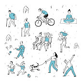 Hand drawn of action people in the park.