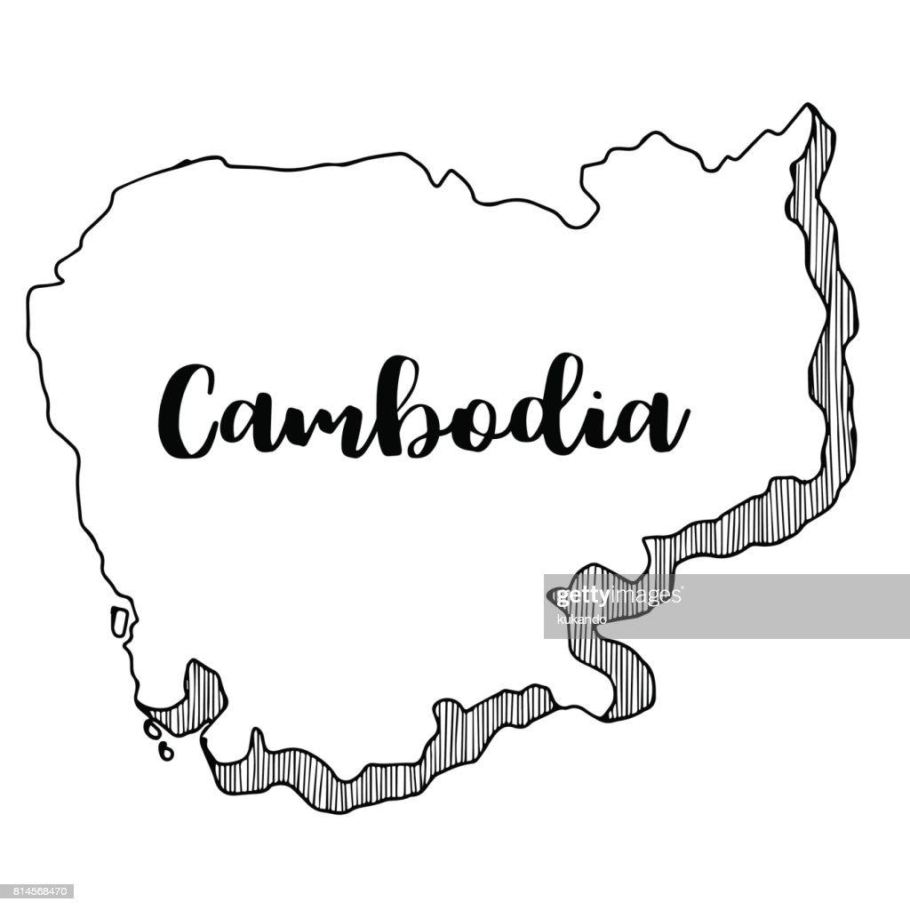 Hand drawn of Cambodia map, vector illustration