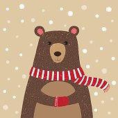 Hand drawn of cute bear wearing red scarf