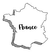 Hand drawn  of  France map, vector  illustration