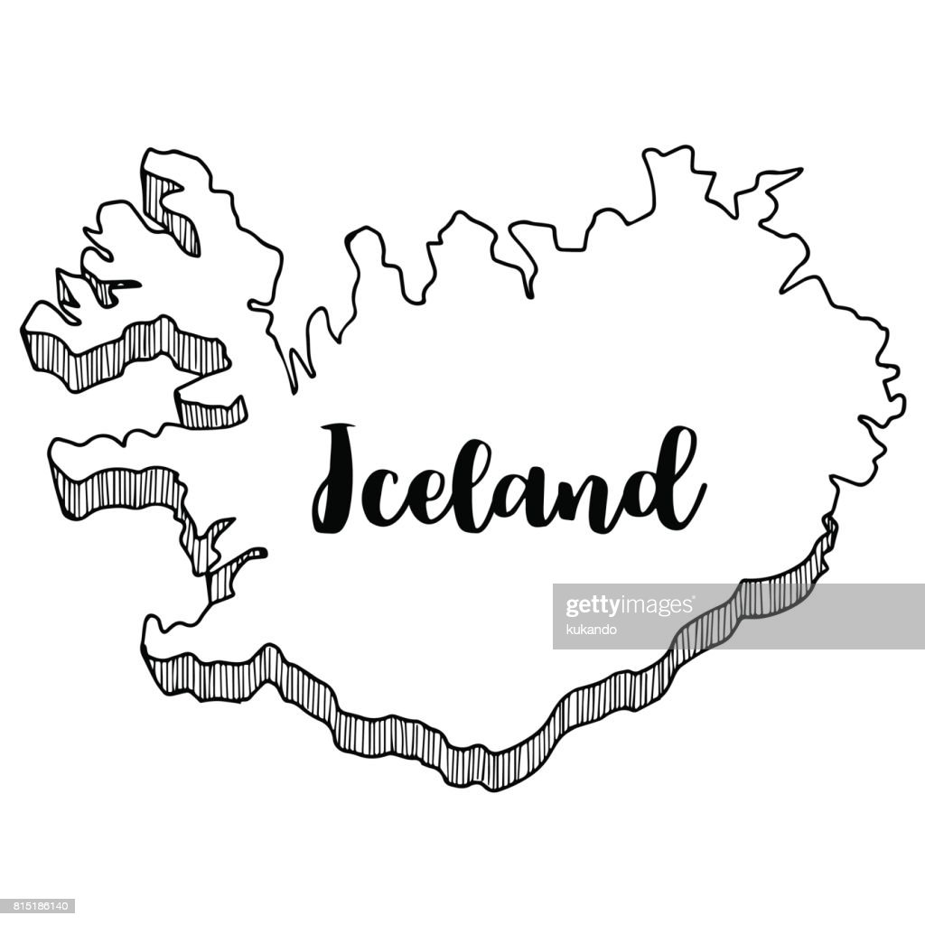 Hand Drawn Of Iceland Map Vector Illustration High-Res ...