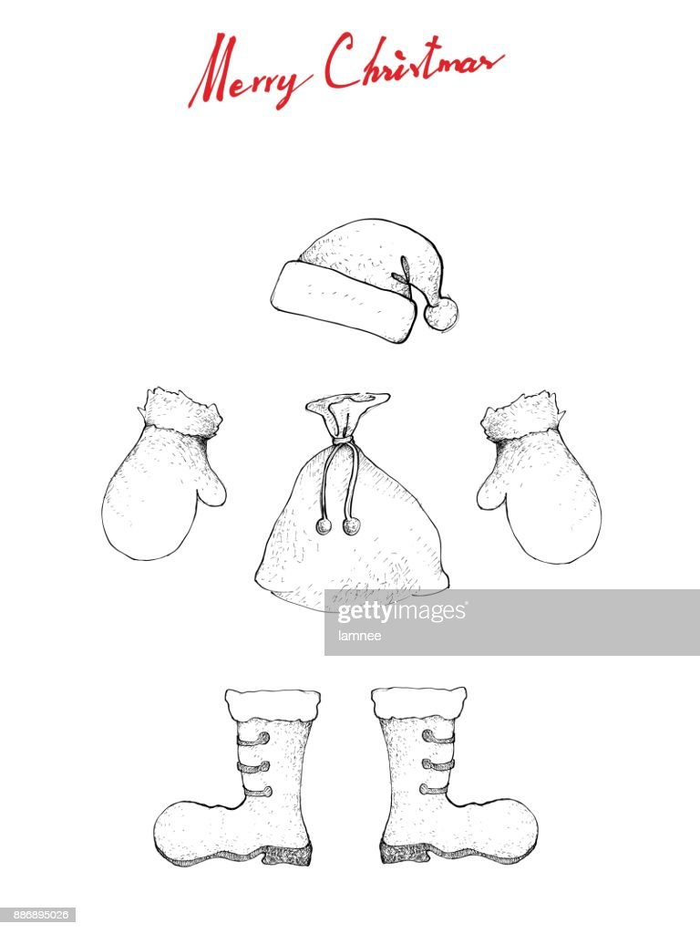 Hand Drawn of Lovely Santa Hat, Boot, Bag and Mitten