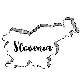 Hand drawn of Slovenia map, vector illustration