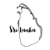 Hand drawn of Sri Lanka map, vector illustration