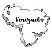 Hand drawn of Venezuela map, vector illustration