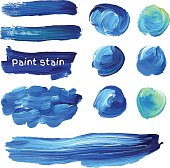 Hand drawn oil paint strokes. Vector background stains set.
