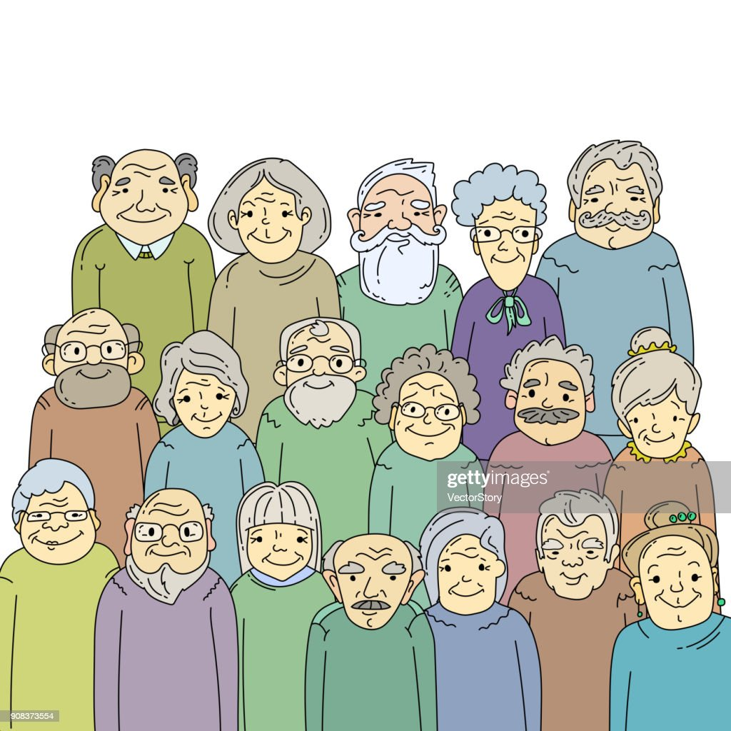 Hand drawn old people.