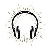 Hand drawn old school headphones vector illustration.
