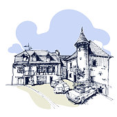 Hand drawn old tower with a country house and cars, townhouse urban sketch