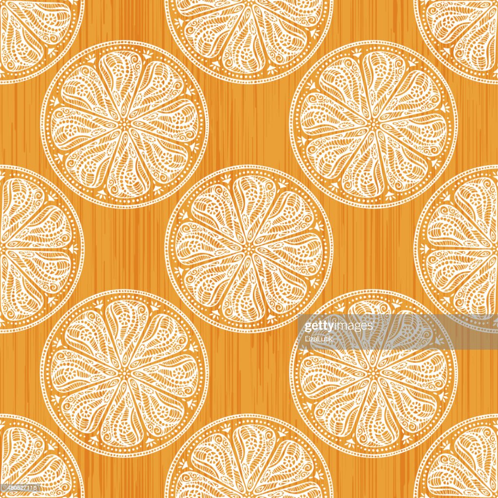 Hand Drawn Orange Seamless Pattern : Vector Art