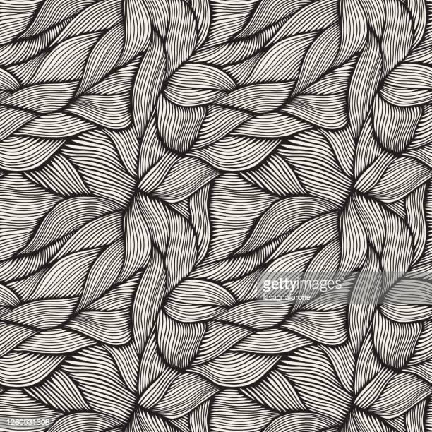 hand drawn organic intertwined seamless pattern - natural pattern stock illustrations