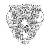 Hand drawn Ornamental Tattoo Bull Head.