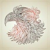 Hand drawn Ornamental Tattoo egale Head.