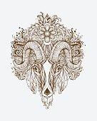 Hand drawn Ornamental Tattoo Goat Head.