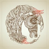Hand drawn Ornamental Tattoo Horse Head.