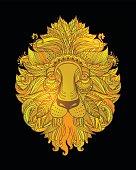 Hand drawn Ornamental Tattoo Lion Head.